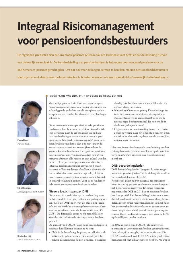 Integraal Risicomanagement voor pensioenfondsbestuurders