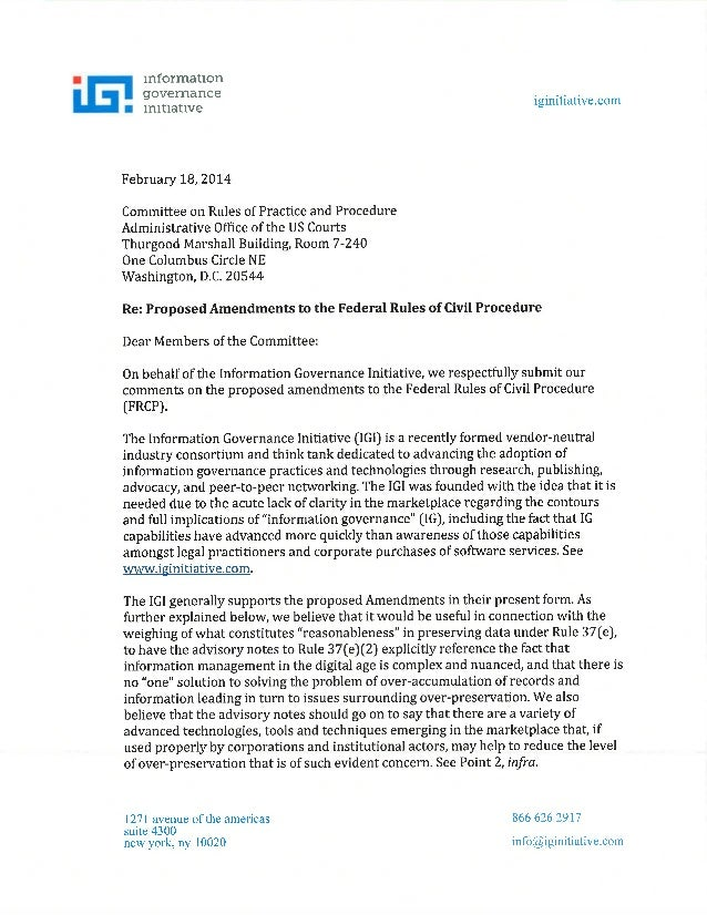 Information Governance Initiative Commentary on Proposed Changes to the Federal Rules of Civil Procedure