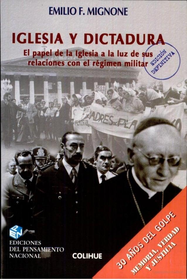 Iglesia y dictadura   mignone