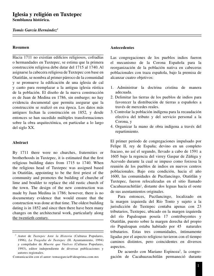 Iglesia y religión en TuxtepecSemblanza histórica.Tomás García Hernández1Resumen                                          ...