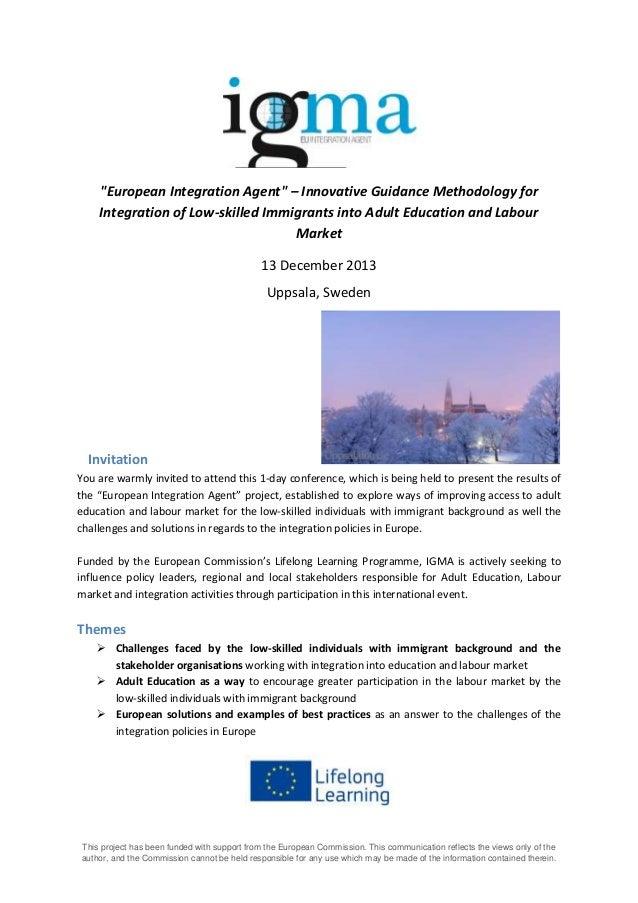 IGMA conference invitation and agenda, December 13, Uppsala