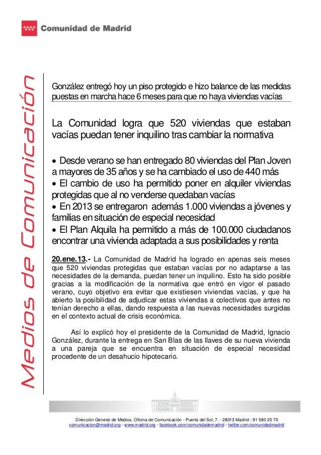 González entregó hoy un piso protegido e hizo balance de las medidas puestas en marcha hace 6 meses para que no haya vivie...
