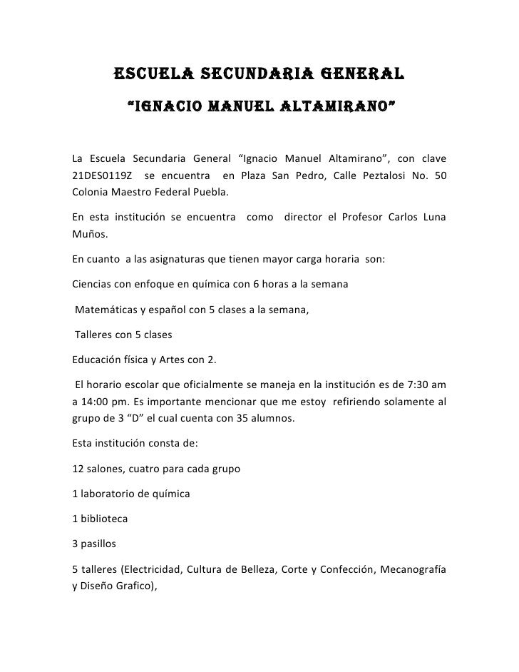 "ESCUELA SECUNDARIA GENERAL              ""IGNACIo MANUEL ALtAMIRANo""   La Escuela Secundaria General ""Ignacio Manuel Altami..."
