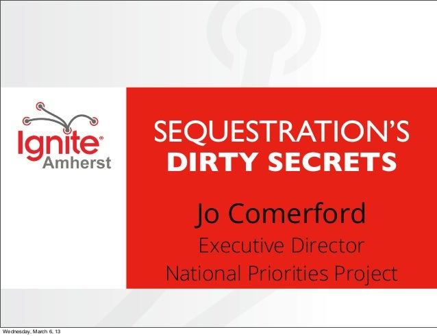 IgniteAmherst 2013 #02 Sequestration's Dirty Secrets by Jo Comerford