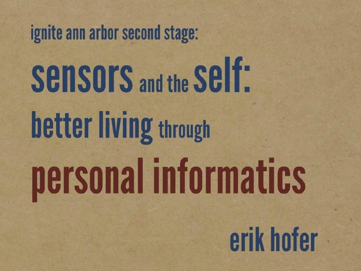 Sensors and the Self:  Better living through personal informatics
