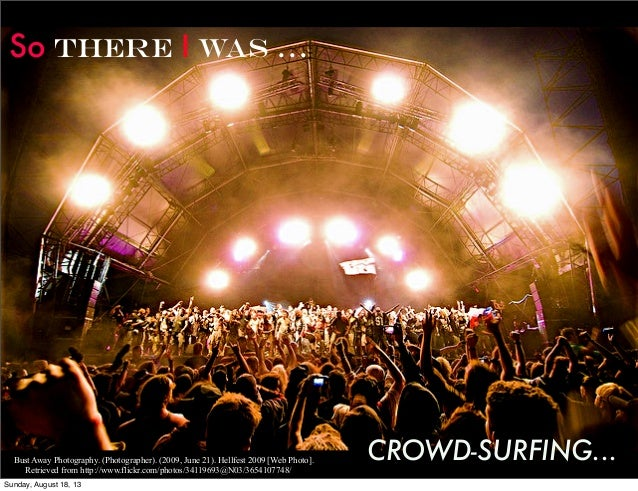 So THERE I WAS ... CROWD-SURFING...Bust Away Photography. (Photographer). (2009, June 21). Hellfest 2009 [Web Photo]. Retr...