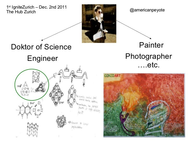 Doktor of Science Engineer Painter Photographer … .etc. @americanpeyote 1 st  IgniteZurich – Dec. 2nd 2011 The Hub Zurich