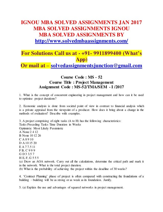 Solved assignments mba