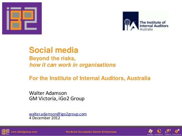 Social Media Governance - Beyond the Risks