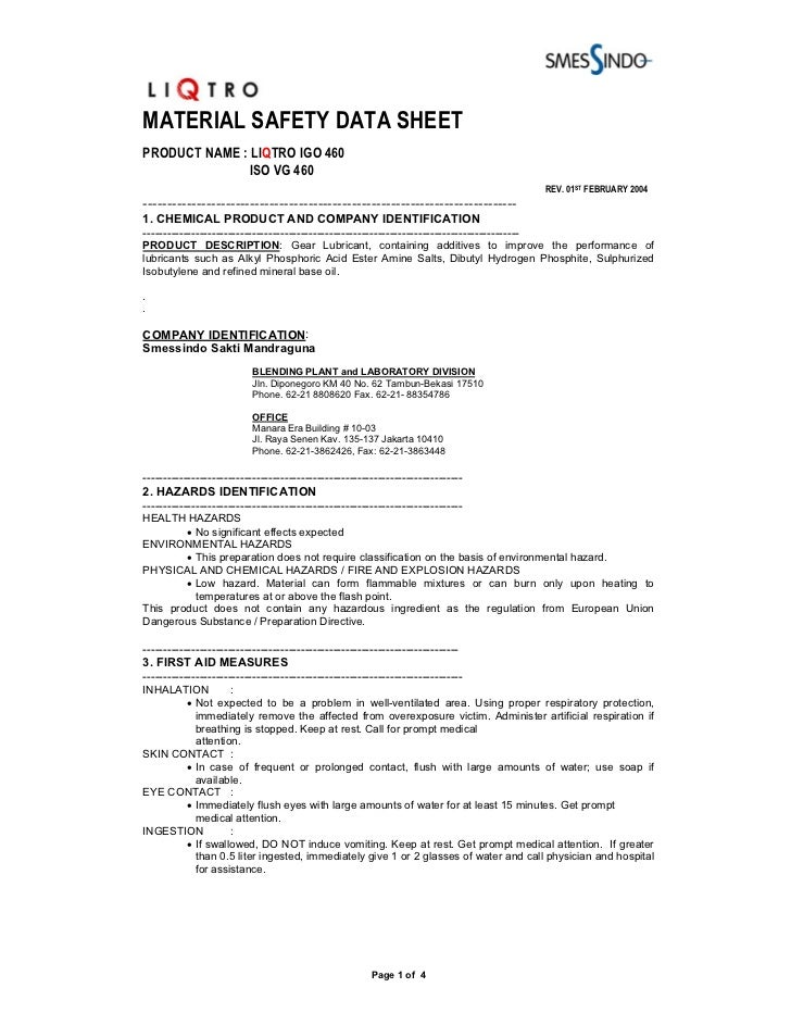MATERIAL SAFETY DATA SHEETPRODUCT NAME : LIQTRO IGO 460              ISO VG 460                                           ...