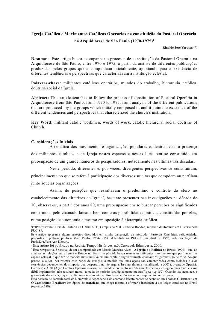 Igreja Católica e Movimentos Católicos Operários na constituição da Pastoral Operária                                na Ar...