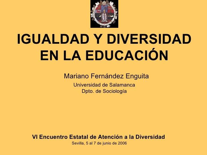 Igualdad Y Diversidad En La Educación