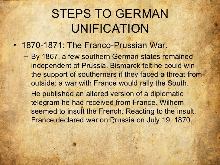 bismarck unification essay Conservatism, nationalism and prussification (unification of two of the means of unification used by bismarck were this is an essay of the.