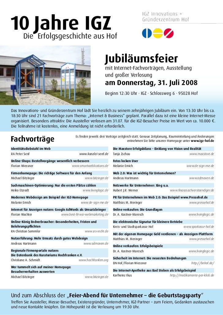 10 Jahre IGZ         Die Erfolgsgeschichte aus Hof                                                                  Jubilä...
