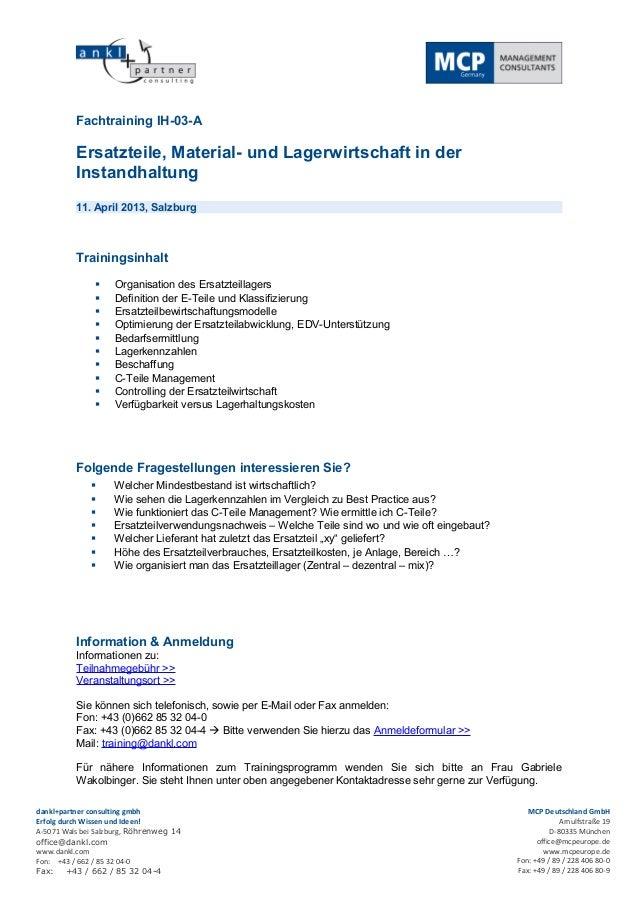Fachtraining IH-03-A          Ersatzteile, Material- und Lagerwirtschaft in der          Instandhaltung          11. April...