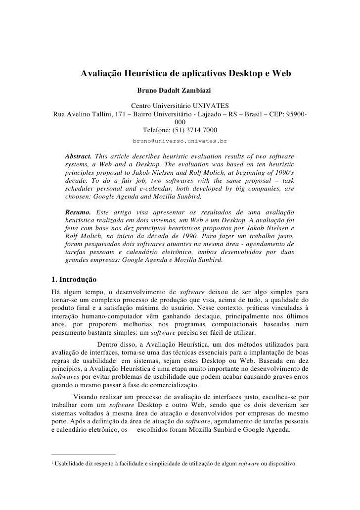 Avaliação Heurística de aplicativos Desktop e Web                                       Bruno Dadalt Zambiazi             ...