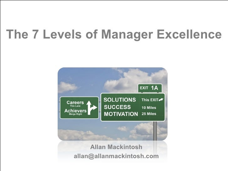 The 7 Levels of Manager Excellence Allan Mackintosh [email_address]