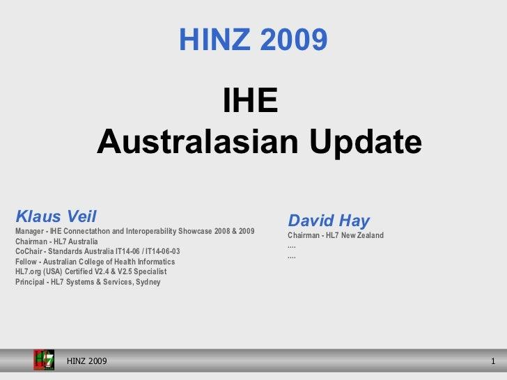 IHE Australasian Update