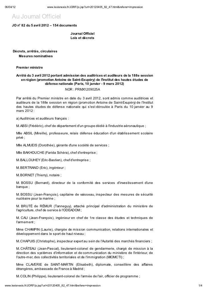 06/04/12                             .le isne is.fr/JORF/jo.jsp?url=20120405_82_47.html&referer=impression     Au Journal ...