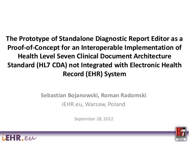 The Prototype of Standalone Diagnostic Report Editor as a Proof-of-Concept for an Interoperable Implementation of Health L...