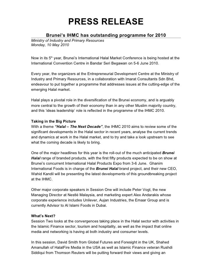 PRESS RELEASE          Brunei's IHMC has outstanding programme for 2010 Ministry of Industry and Primary Resources Monday,...