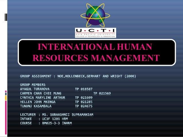 INTERNATIONAL HUMANRESOURCES MANAGEMENT