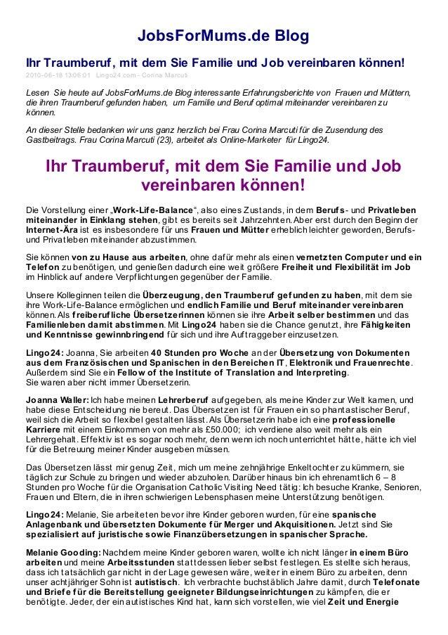 JobsForMums.de Blog Ihr Traumberuf, mit dem Sie Familie und Job vereinbaren können! 2010-06-18 13:06:01 Lingo24.com - Cori...