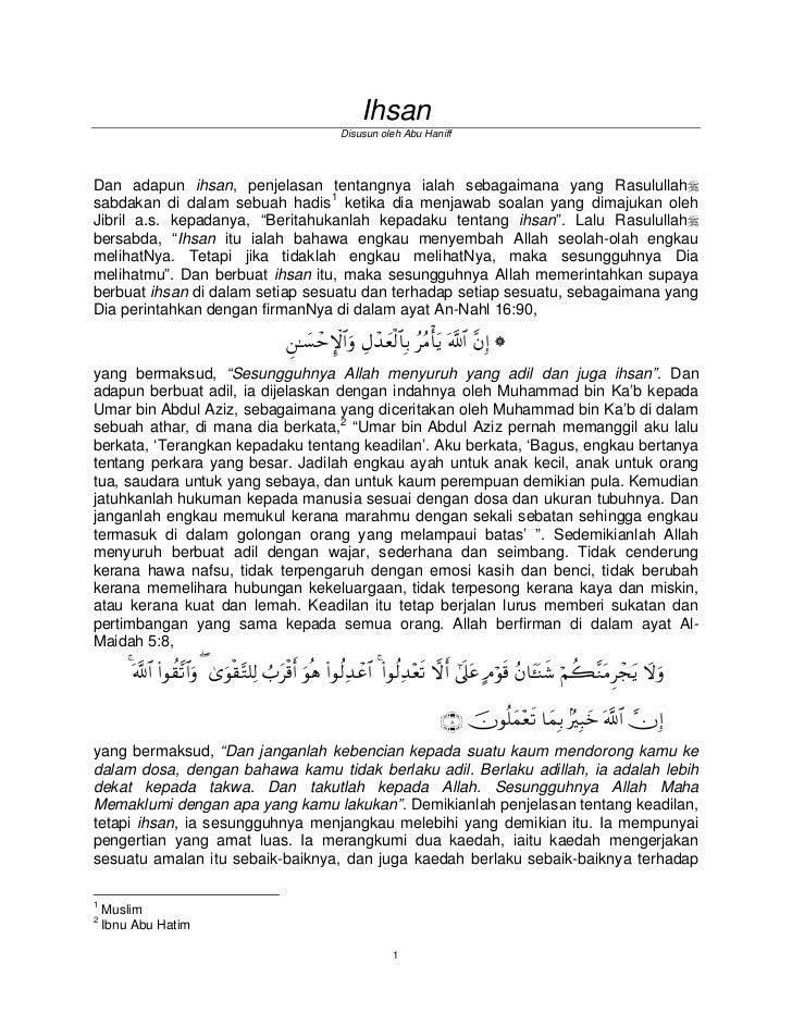 Ihsan                                                         Disusun oleh Abu HaniffDan adapun ihsan, penjelasan tentangn...