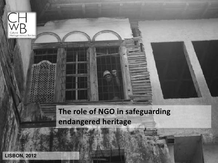 The role of NGO in safeguarding               endangered heritageLISBON, 2012