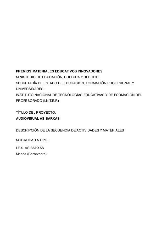 PREMIOS MATERIALES EDUCATIVOS INNOVADORESMINISTERIO DE EDUCACIÓN, CULTURA Y DEPORTESECRETARÍA DE ESTADO DE EDUCACIÓN, FORM...
