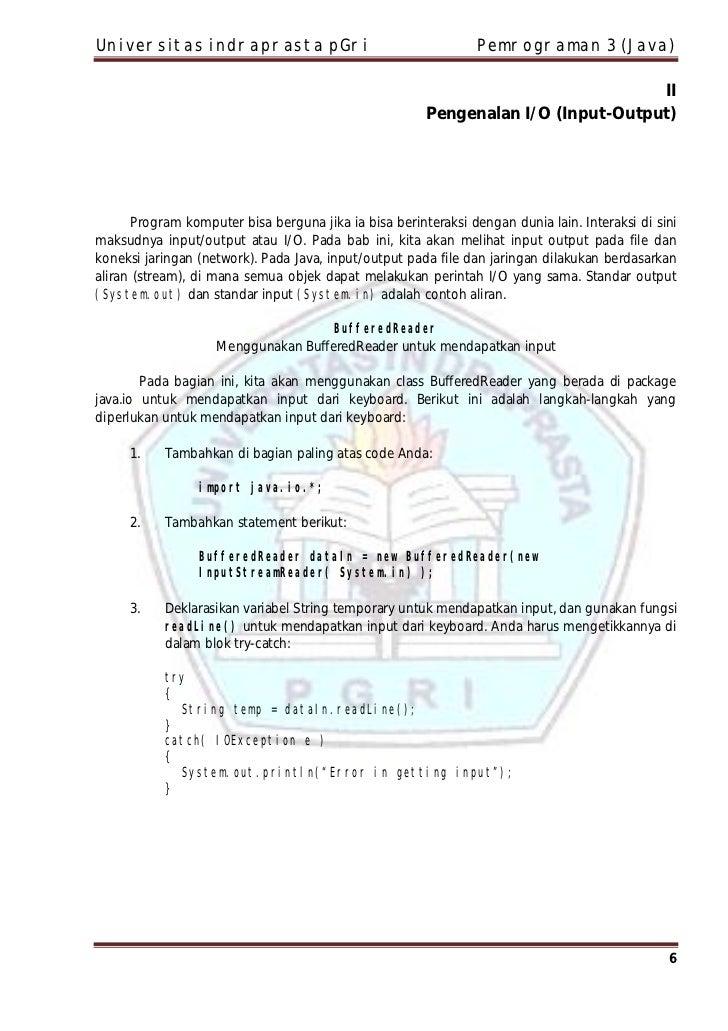 Universitas indraprasta pGri                                    Pemrograman 3 (Java)                                      ...