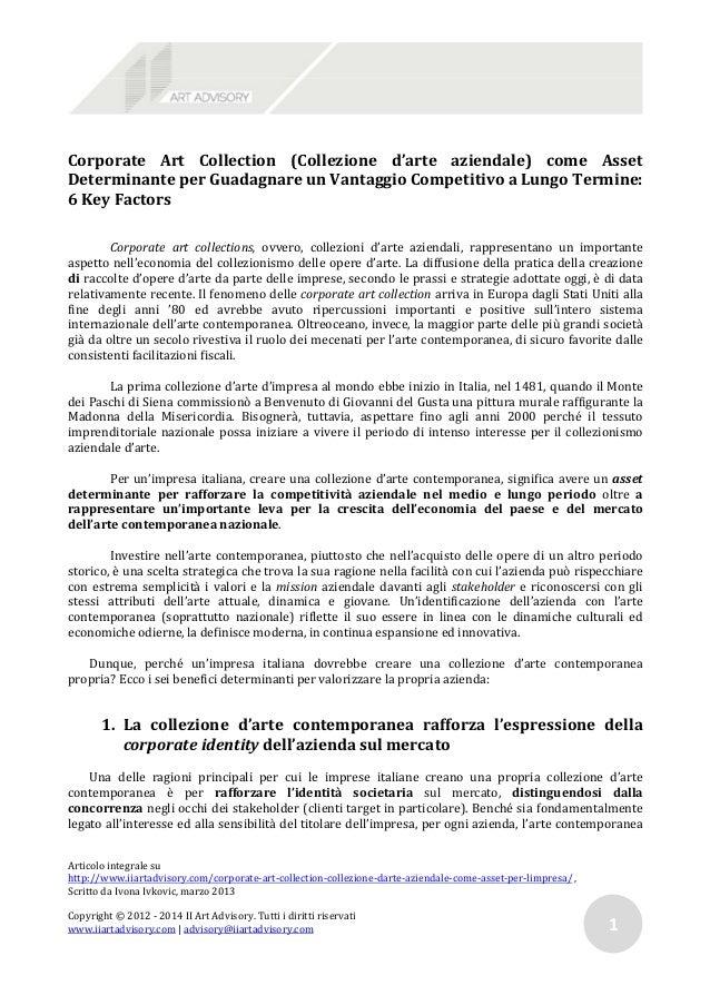 Corporate Art Collection (Collezione d'arte aziendale) come AssetDeterminante per Guadagnare un Vantaggio Competitivo a Lu...