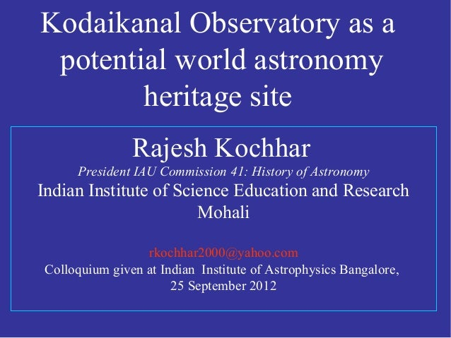 Kodaikanal Observatory as a world astronomy heritage site