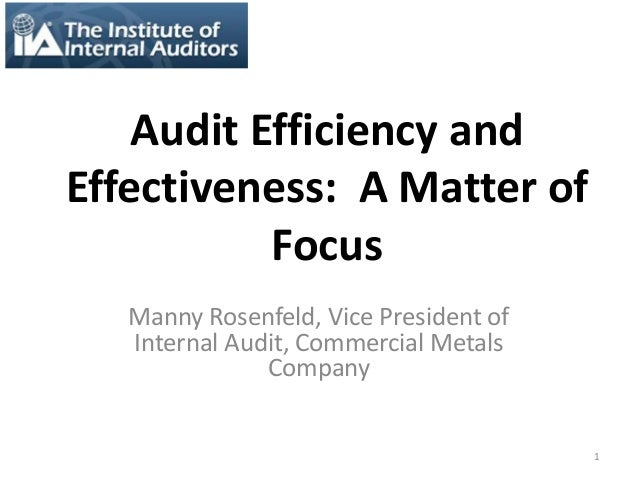 internal audit efficiency Getting the most out of internal audit is now a business imperative • to be responsive to stakeholder needs, internal audit departments must operate at the highest level of quality • quality must be considered from three viewpoints: 1 effectiveness in meeting the needs of stakeholders 2 efficiency and effectiveness in the.