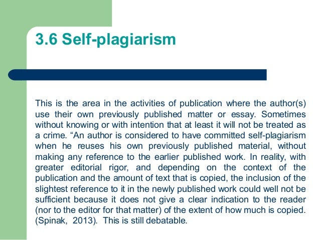 What is self plagiarism exactly?
