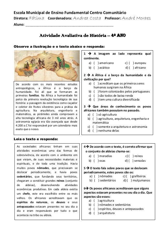 Escola Municipal de Ensino Fundamental Centro Comunitário Diretora: Fátima Coordenadora: Andrea Costa Professor: André Mor...