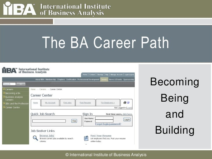 The BA Career Path     Cover this area with a     picture related to your                                                ...