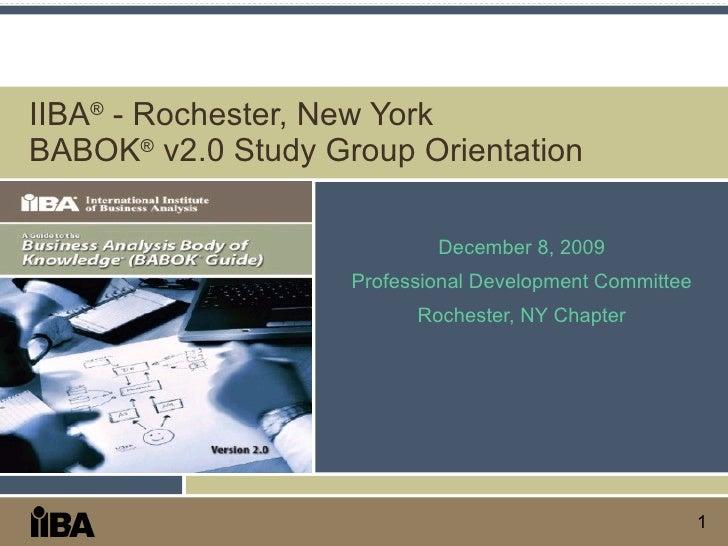 IIBA Study Group Orientation - Dec 2009