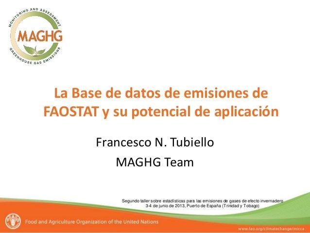 Segundo taller sobre estadísticas para las emisiones de gases de efecto invernadero 3-4 de junio de 2013, Puerto de España...
