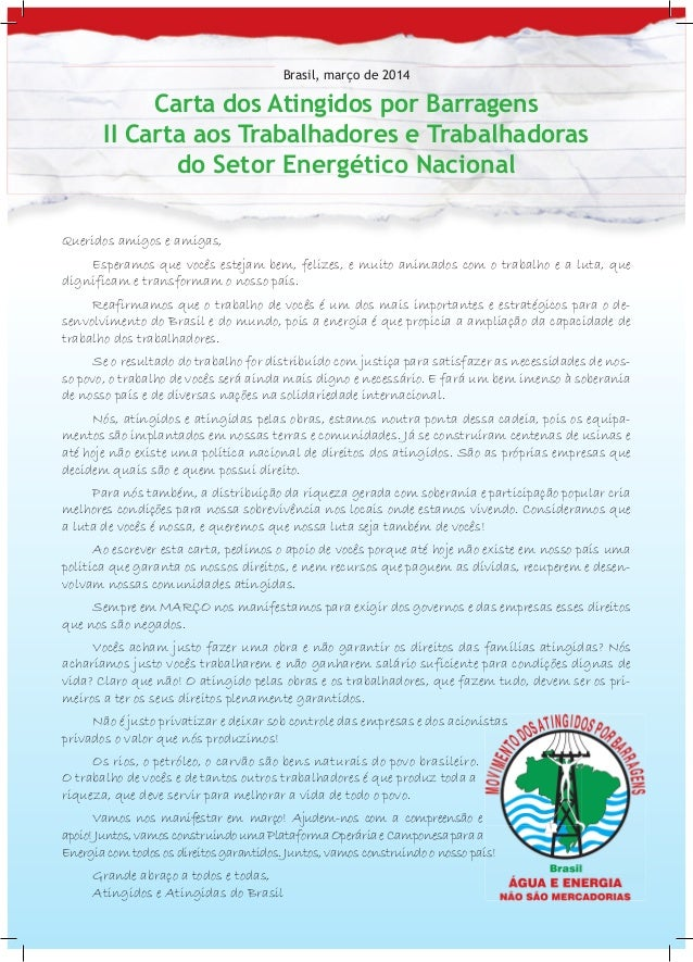 Ii carta aos trabalhadores energia