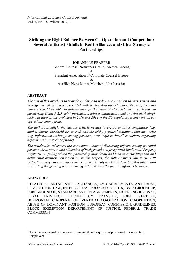 Co-Operation and Competition: Antitrust Pitfalls in R&D Alliances and Other Strategic Partnerships