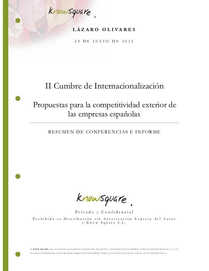 LÁZARO OLIVARES                                       24 DE JULIO DE 2012            II Cumbre de Internacionalización Pro...