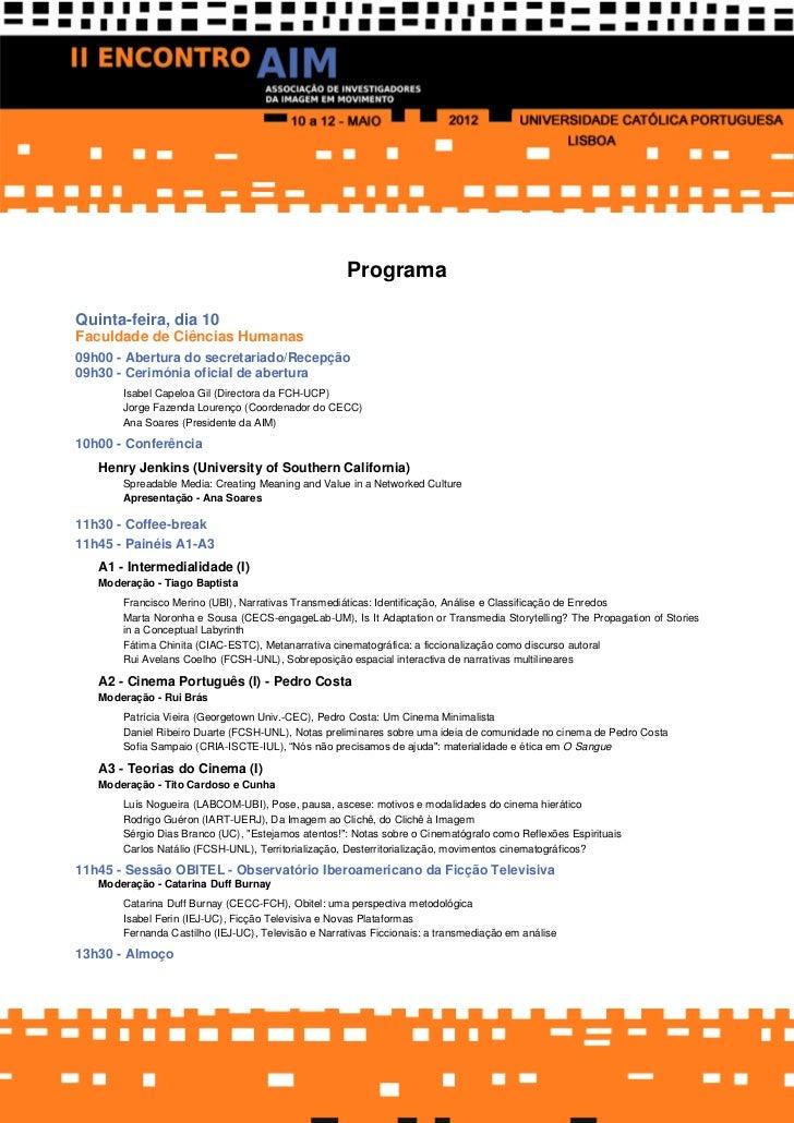 ProgramaQuinta-feira, dia 10Faculdade de Ciências Humanas_________________________________________________________________...