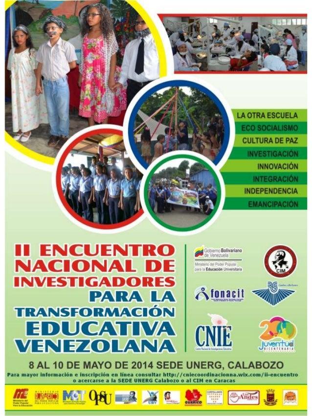 II ENCUENTRO NACIONAL DE INVESTIGADORES PARA LA TRANSFORMACIÓN EDUCATIVA