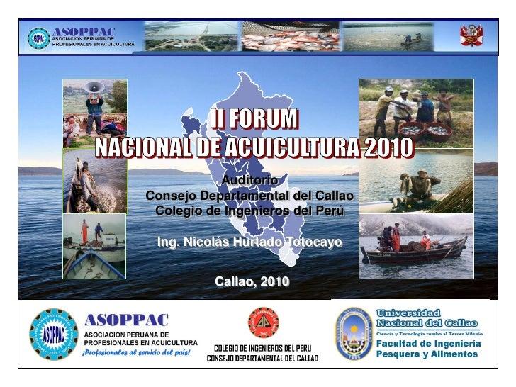 AuditorioConsejo Departamental del Callao Colegio de Ingenieros del Perú Ing. Nicolás Hurtado Totocayo          Callao, 2010