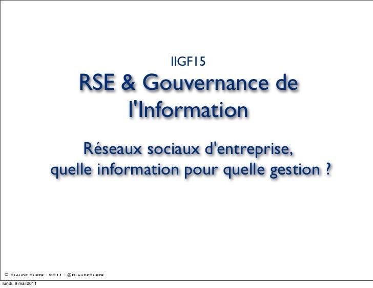 IIGF15                           RSE & Gouvernance de                               lInformation                         R...