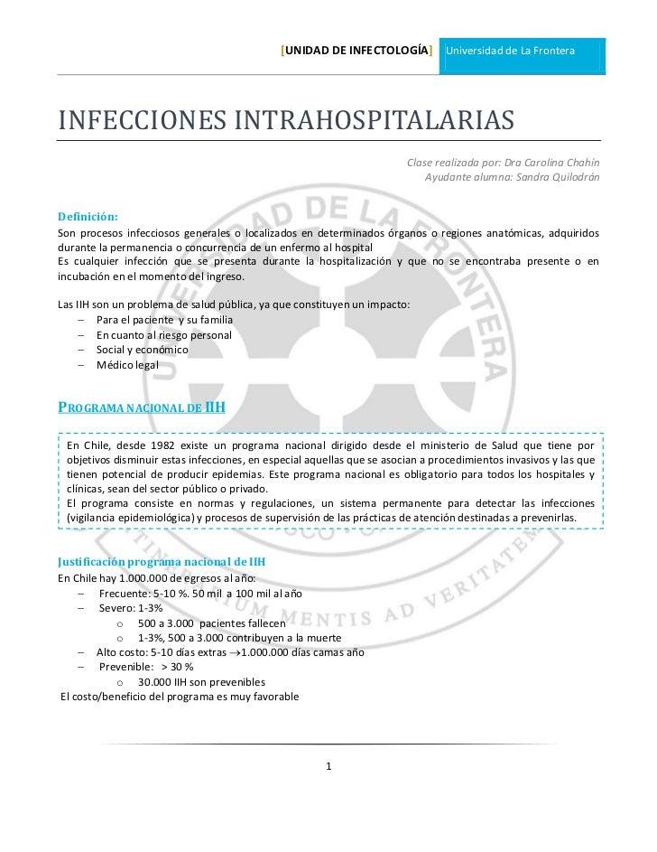 [UNIDAD DE INFECTOLOGÍA] Universidad de La FronteraINFECCIONES INTRAHOSPITALARIAS                                         ...