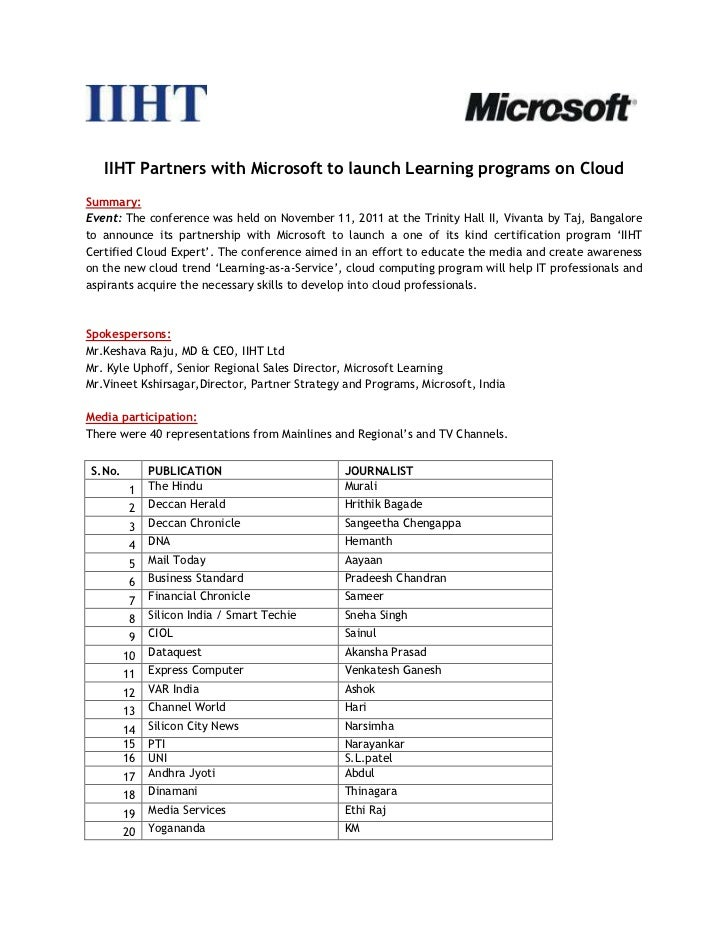 Iiht limited bangalore partners with microsoft