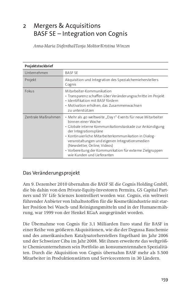 159 2 Mergers & Acquisitions BASF SE – Integration von Cognis  Anna-Maria Diefenthal/Tanja Molitor/Kristina Winzen Proje...