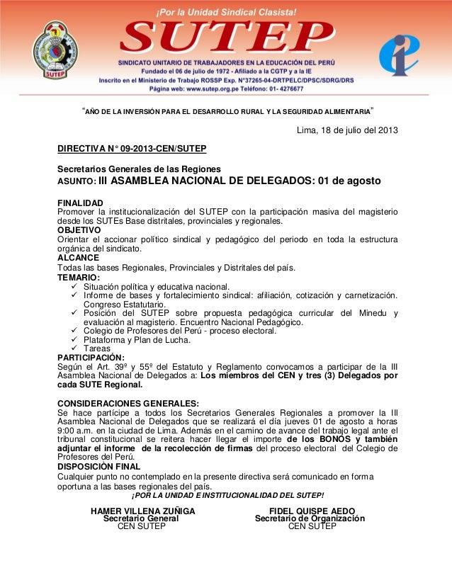 """""""AÑO DE LA INVERSIÓN PARA EL DESARROLLO RURAL Y LA SEGURIDAD ALIMENTARIA"""" Lima, 18 de julio del 2013 DIRECTIVA N° 09-2013-..."""